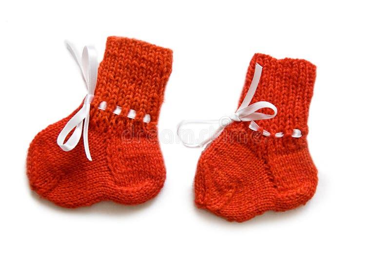 Chaussettes fabriquées à la main de chéri photographie stock libre de droits
