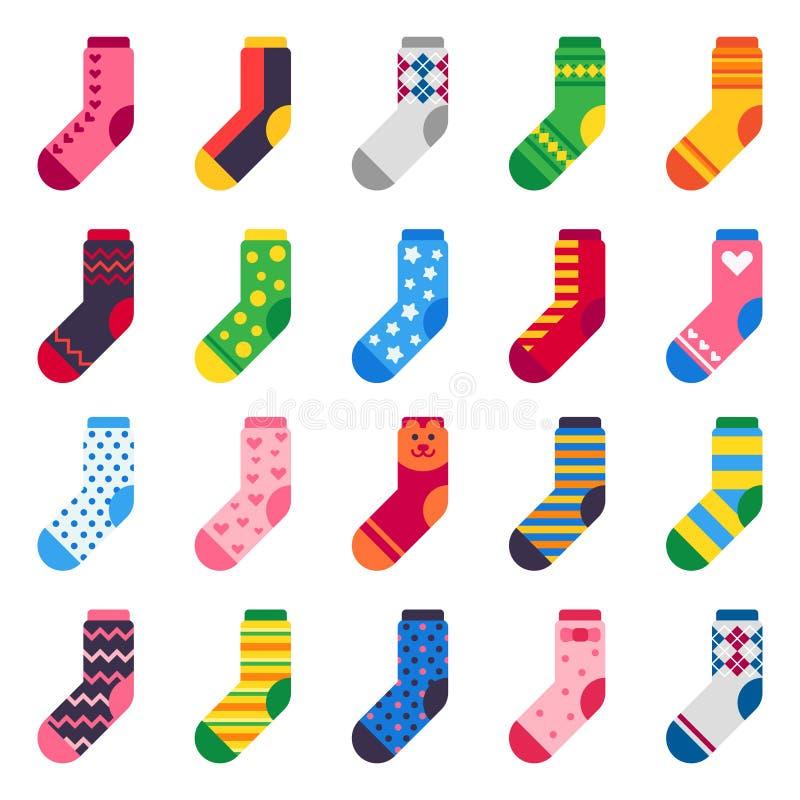 Chaussettes plates Longue chaussette pour le tissu coloré de pied d'enfant et élastique et les icônes chaudes barrées de vecteur  illustration stock