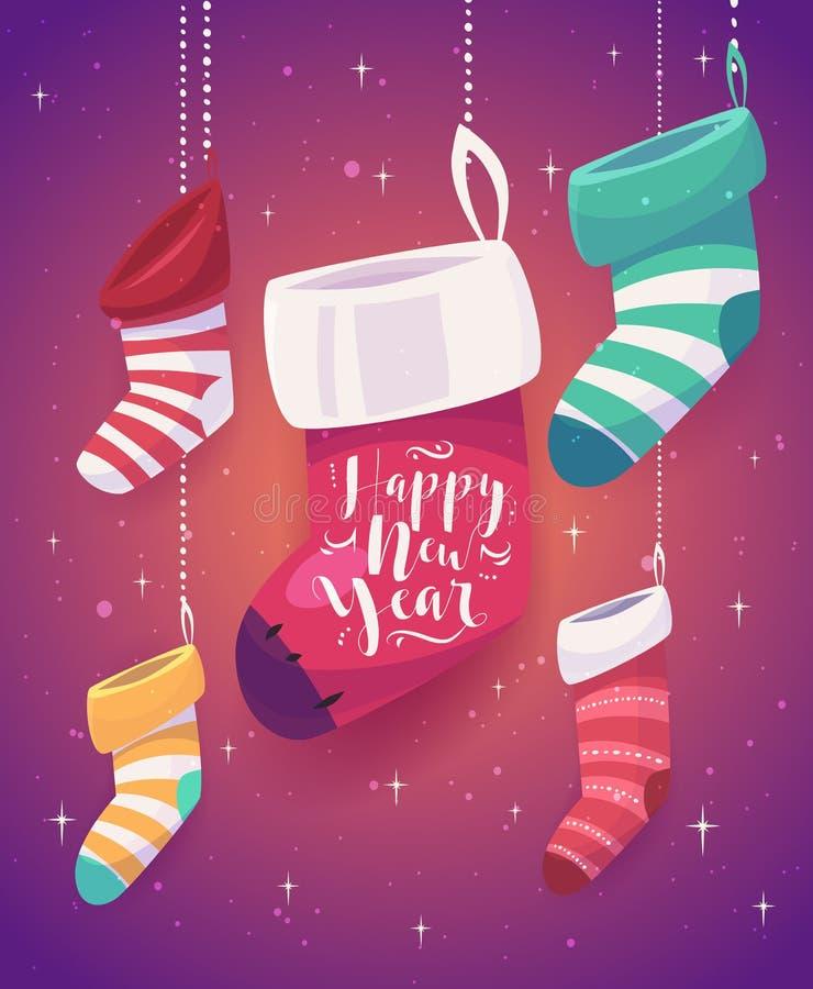 5 chaussettes pour des cadeaux la nouvelle année illustration de vecteur