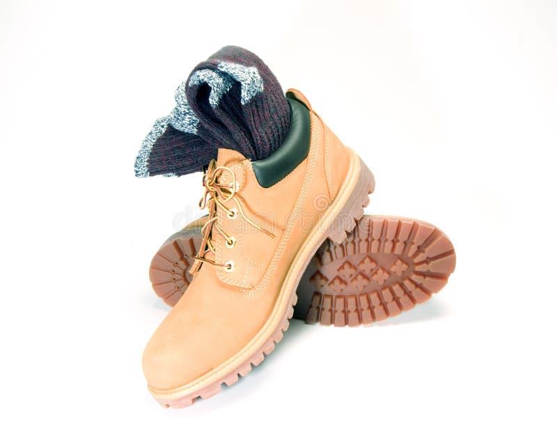 Chaussettes raboteuses de ragg de gaine de chaussure de travail d'Oxford image libre de droits