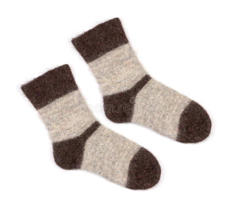 Chaussettes tricotées grises masculines photo stock