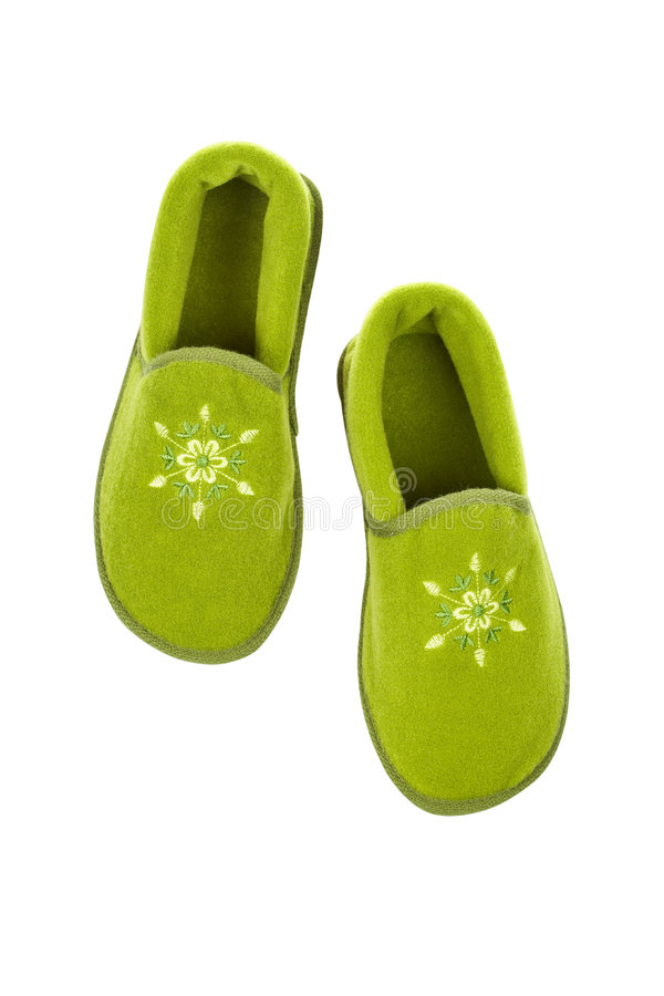 Chaussons verts de Madame image stock