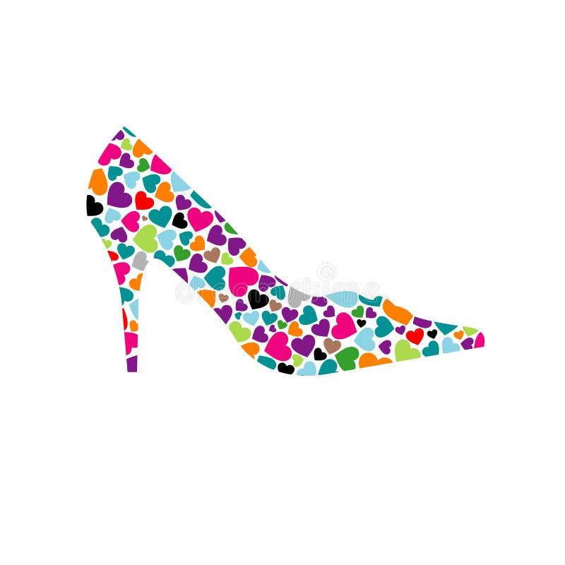 Chaussure avec des coeurs illustration libre de droits