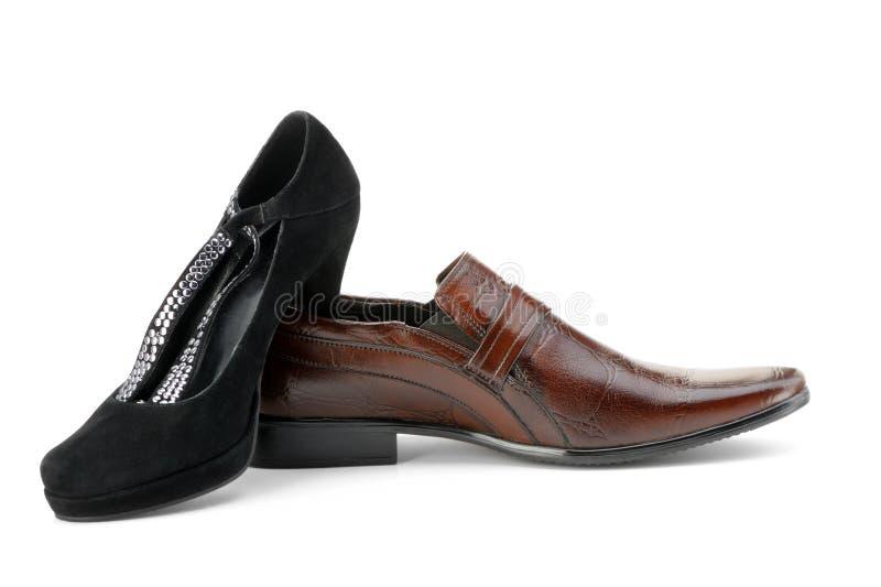 Chaussure de femelle et d'homme photos libres de droits
