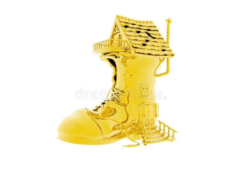 chaussure de maison d'or illustration libre de droits