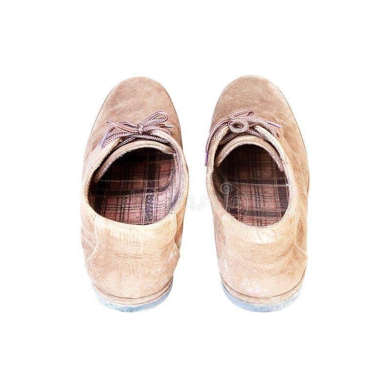 Chaussure de suède de Brown de vieux hommes sur un fond blanc images libres de droits