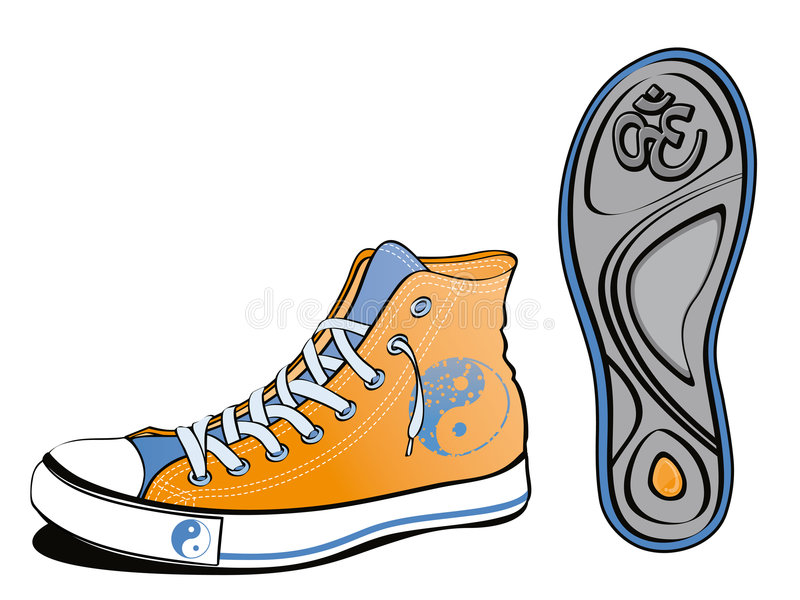 Chaussure de Yin yang illustration stock