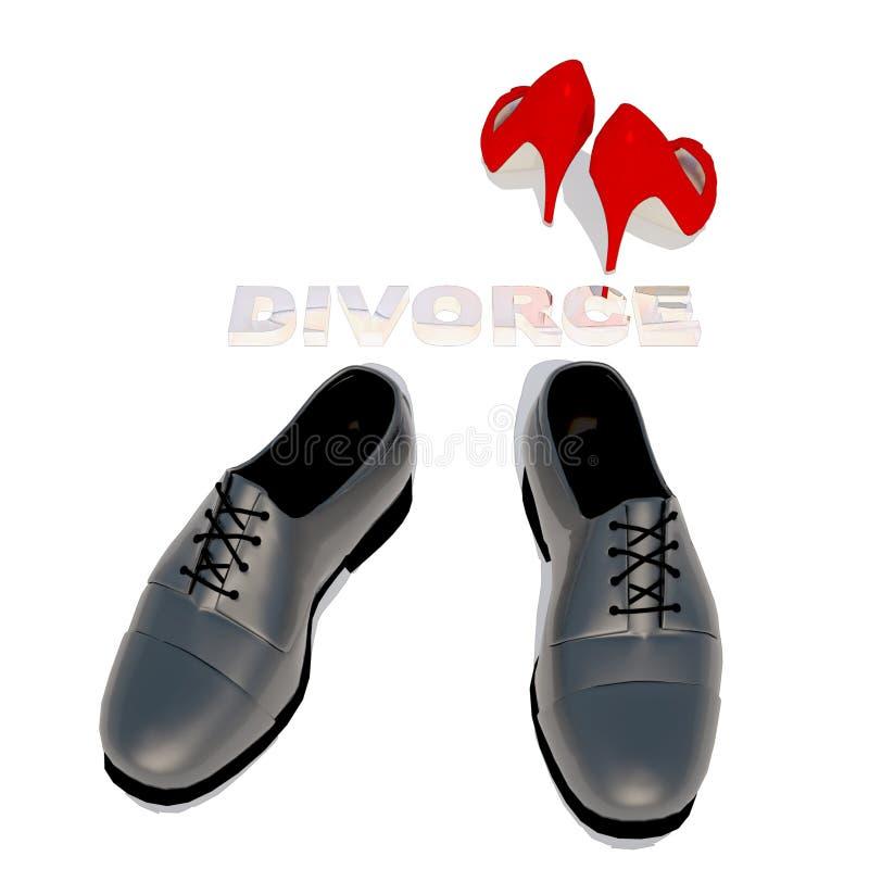 Chaussure des chaussures et des hommes des femmes, divorce de symbole photo libre de droits