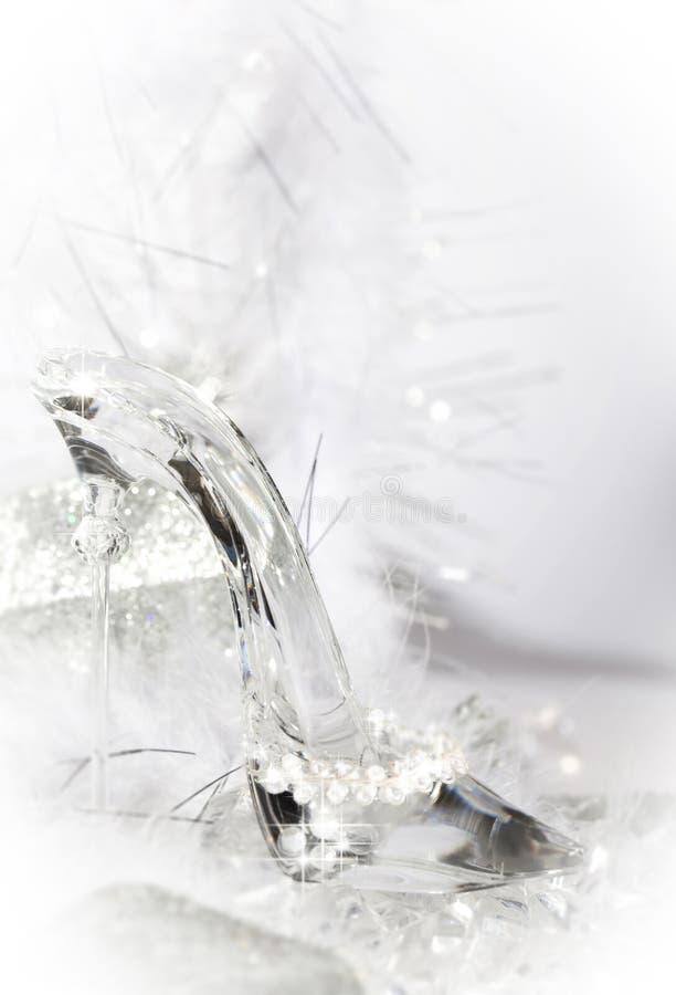 Chaussure en verre de pantoufle images stock