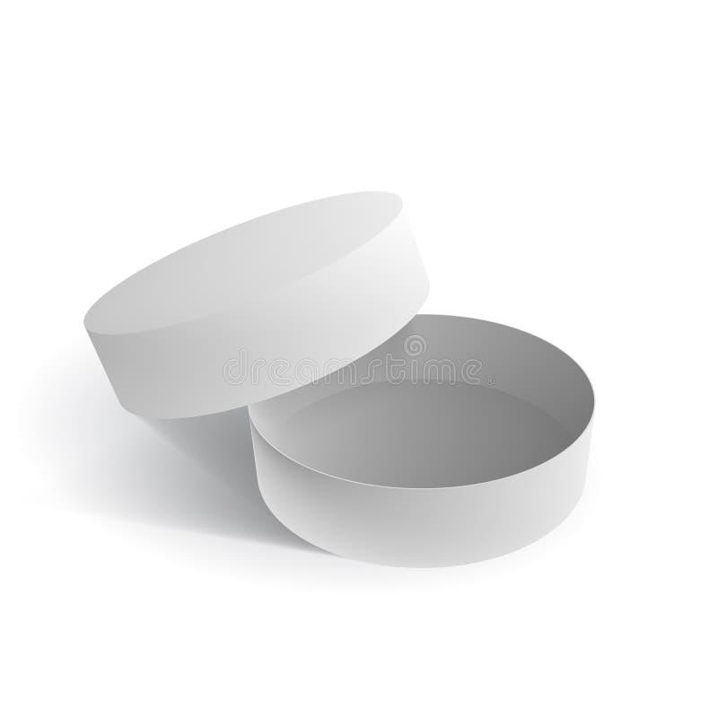 Chaussures blanches ouvertes de blanc ou boîte ronde de cadeau illustration libre de droits
