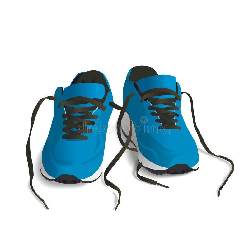 Chaussures bleues de sport pour l'illustration courante de vecteur illustration libre de droits