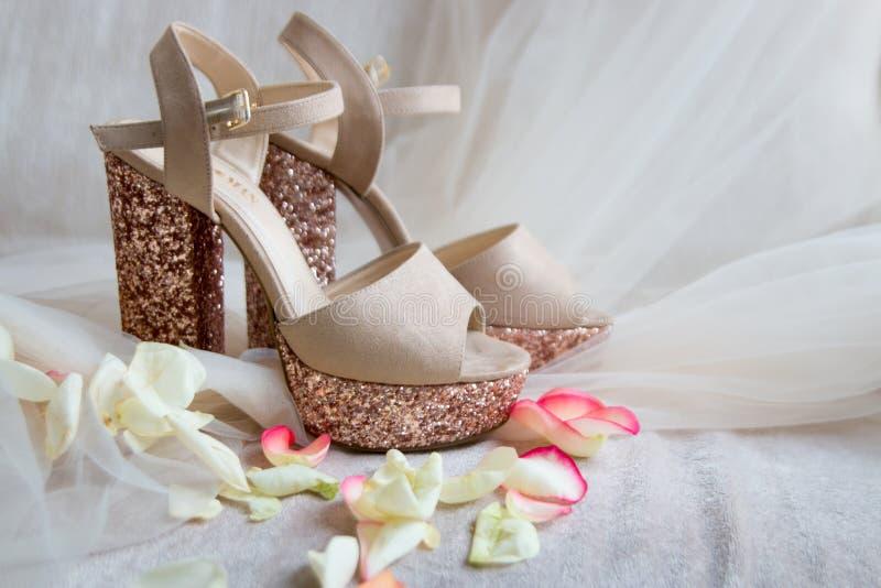 chaussures brillantes d'or sur Tulle dans des pétales de rose images libres de droits