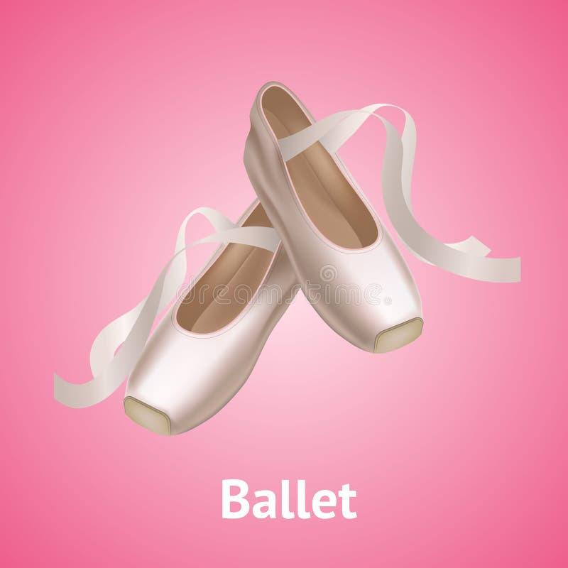 Chaussures détaillées réalistes de Pointe de ballet sur un fond rose Vecteur illustration stock