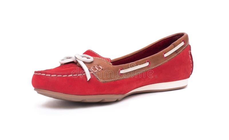 Chaussures de ballet rouges d'isolement sur le fond blanc photographie stock libre de droits