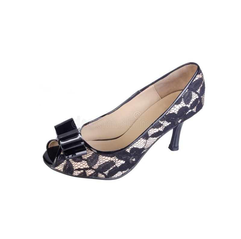 Chaussures, chaussures de dames sur le fond image libre de droits