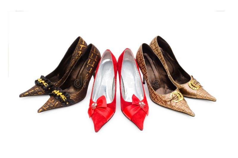 Chaussures de femme d'isolement images stock