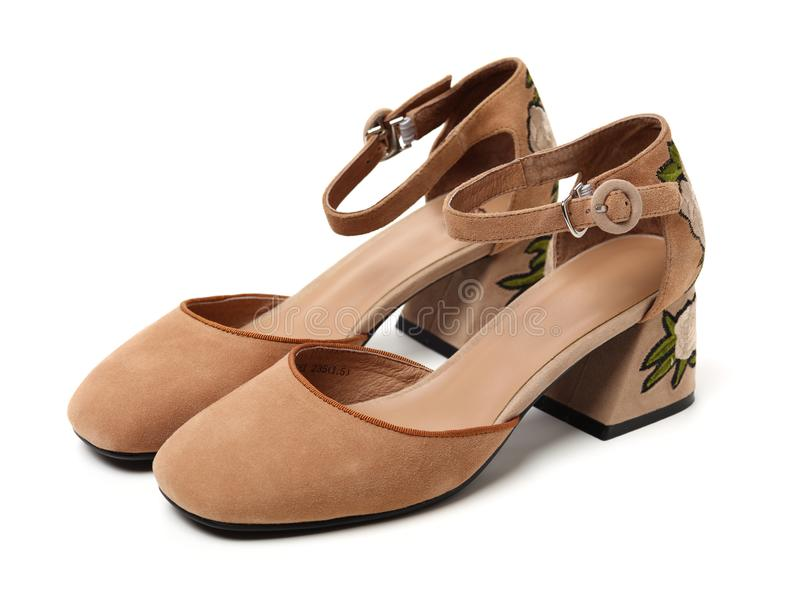 Chaussures de femmes de Brown photographie stock
