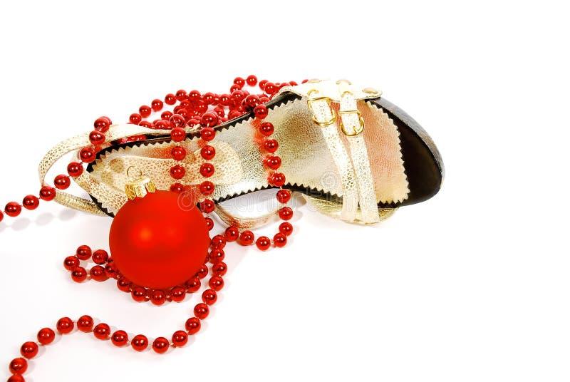 chaussures de Noël de bille photographie stock libre de droits
