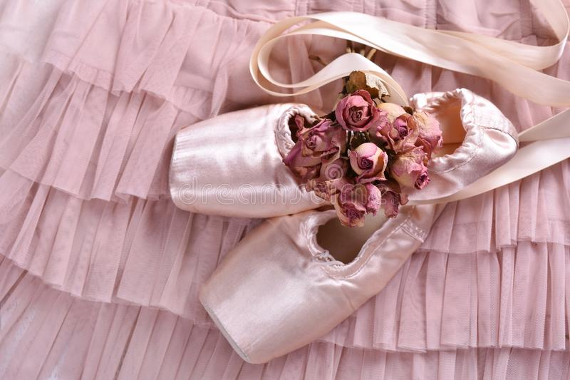 Chaussures de pointe de ballet se trouvant sur la robe de Tulle photographie stock libre de droits