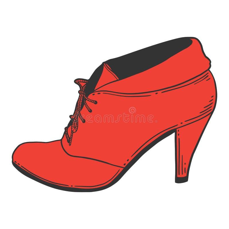 Chaussures de talon haut Concept de vecteur dans le style de griffonnage et de croquis illustration stock