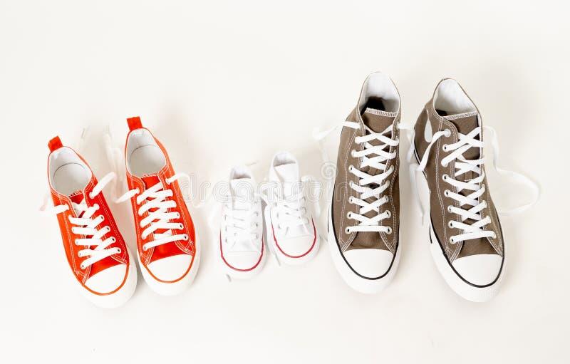Chaussures de toile d'espadrilles de famille des parents et de l'enfant d'isolement sur le fond blanc dans la famille heureuse photographie stock libre de droits