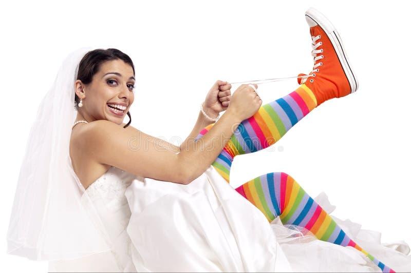 Chaussures drôles de mariée image libre de droits