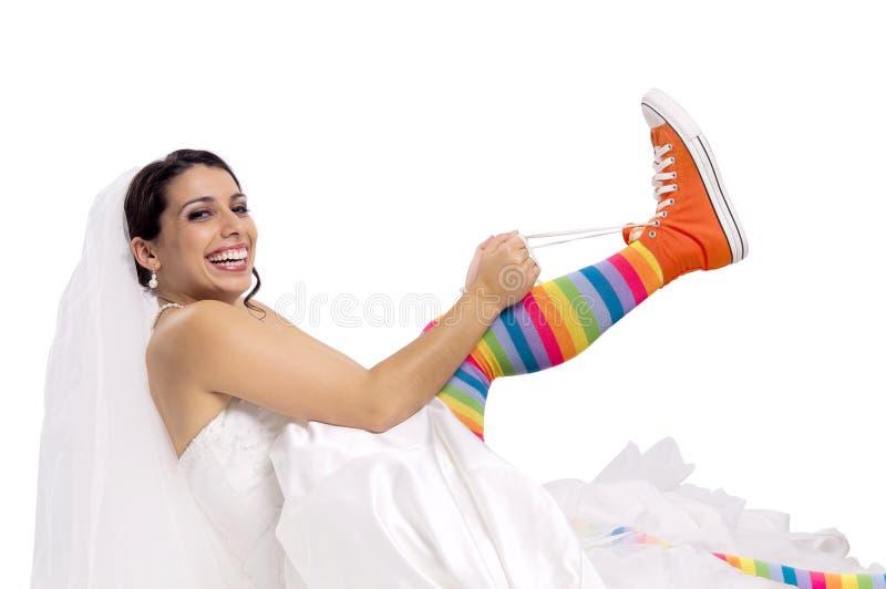 Chaussures drôles de mariée image stock