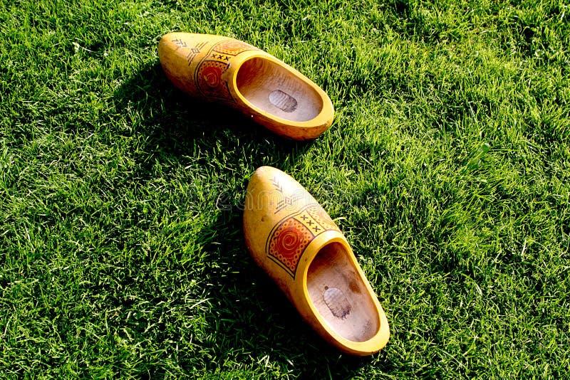 Chaussures en bois dans l'herbe photo stock