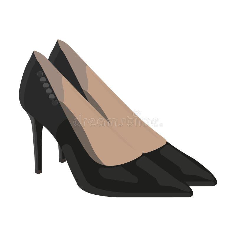 Chaussures en cuir des femmes s avec des talons Chaussures de sport pour la robe de femmes La femme vêtx l'icône simple du symbol illustration de vecteur