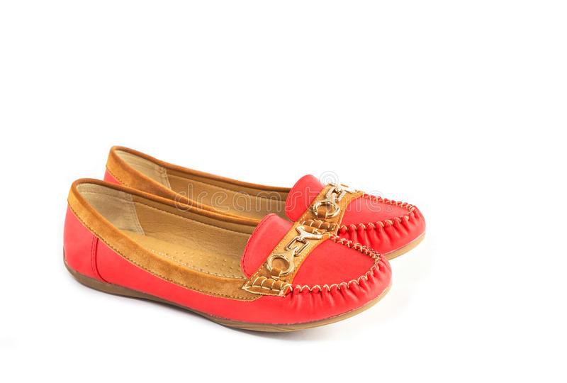 Chaussures en cuir femelles de suède rouge et brun images stock
