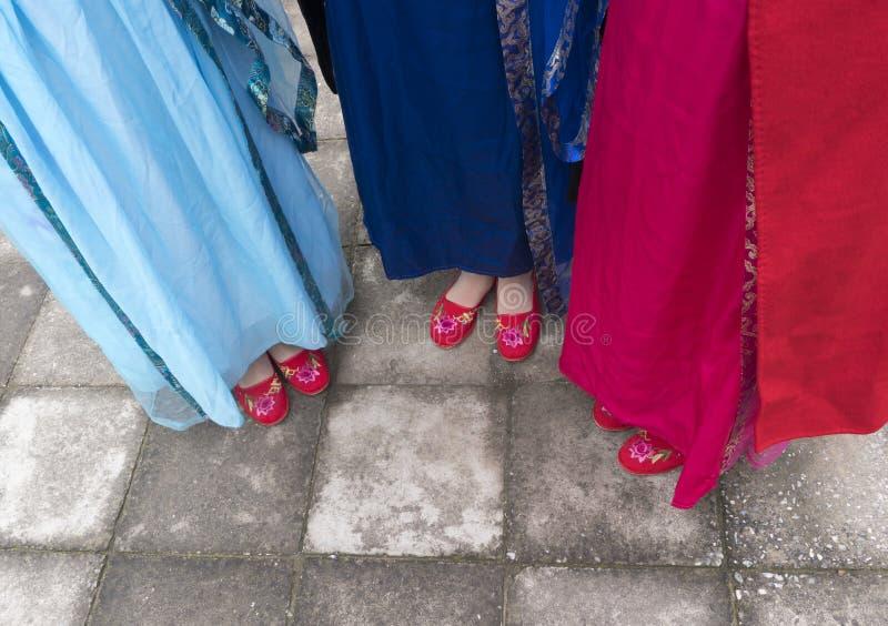 Chaussures et robe brodées par vintage de port photographie stock libre de droits