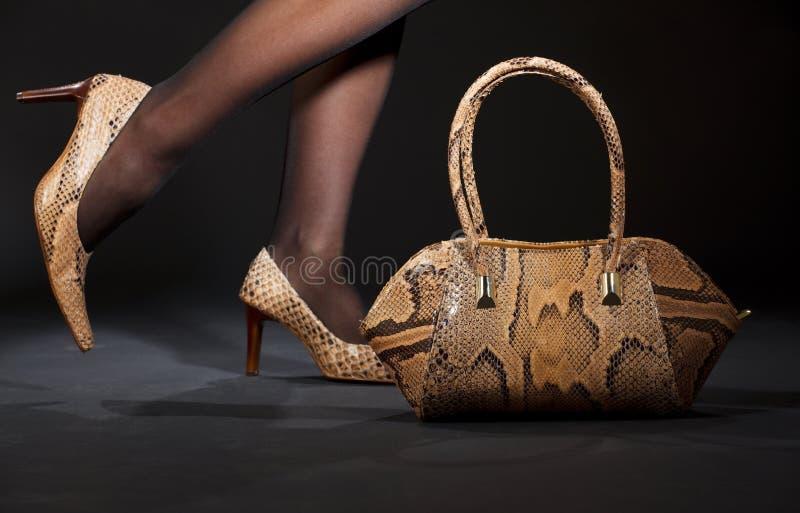 Chaussures et sac à main de Snakeskin photographie stock