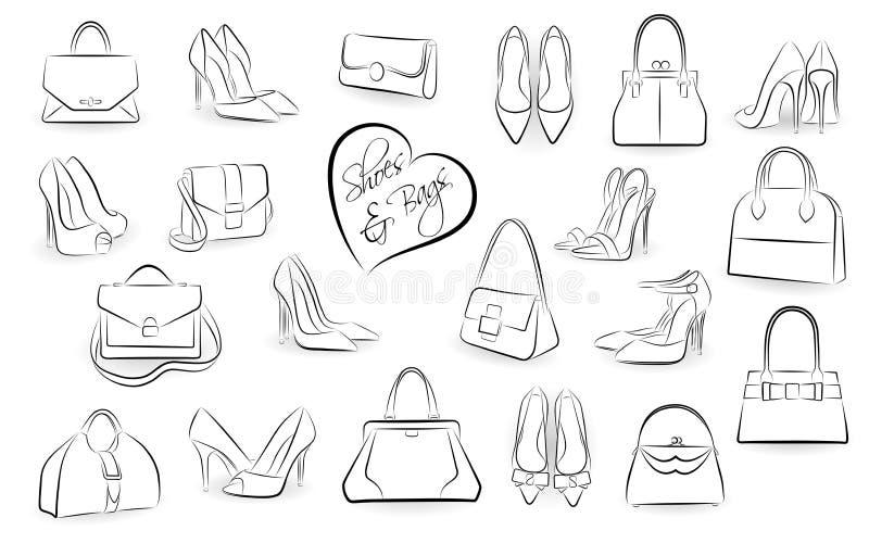 Chaussures et sacs à main illustration libre de droits