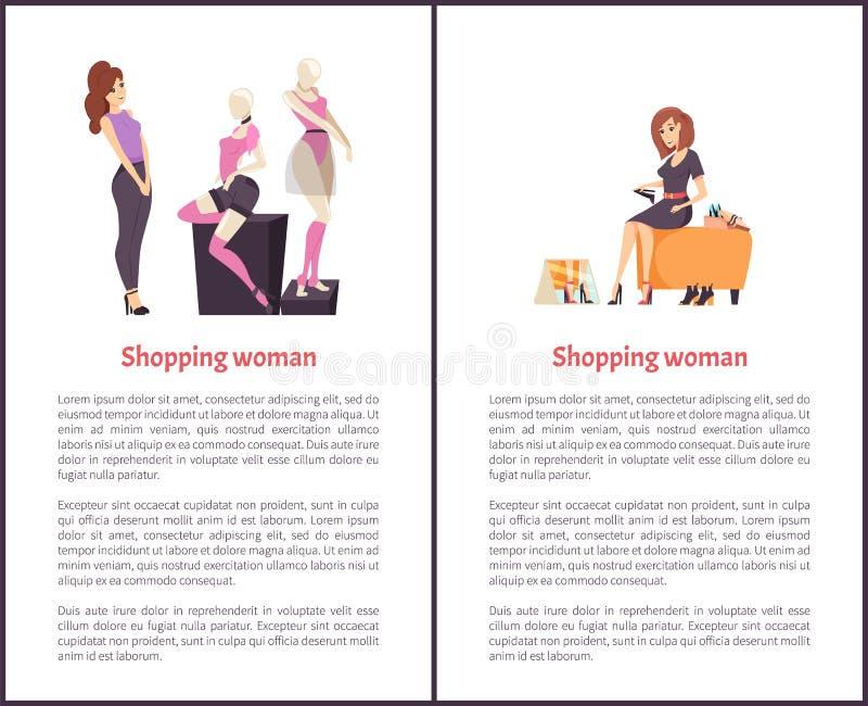 Chaussures femelles de achat de Shopaholic de femme, mannequin illustration stock
