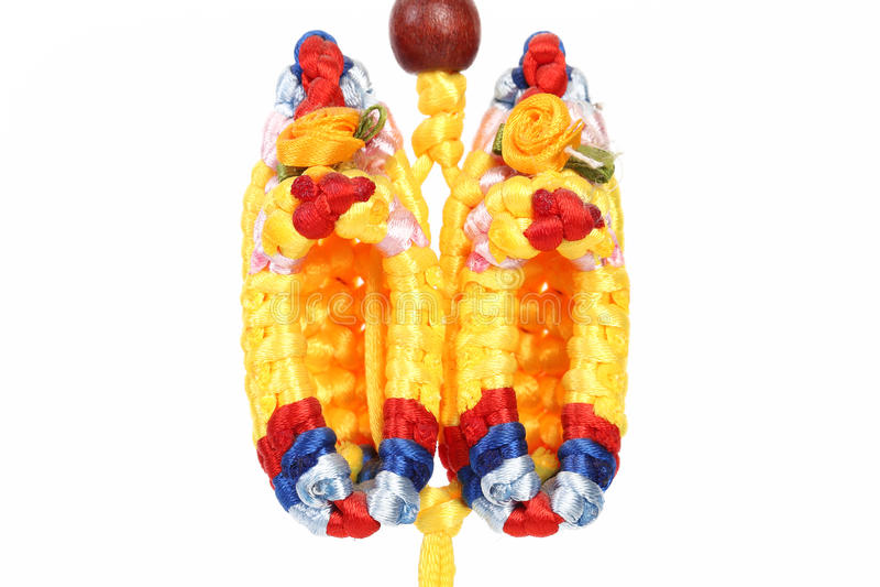 Chaussures multicolores de macramé. images stock