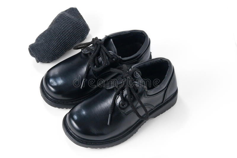 Chaussures noires avec les chaussettes grises photos libres de droits