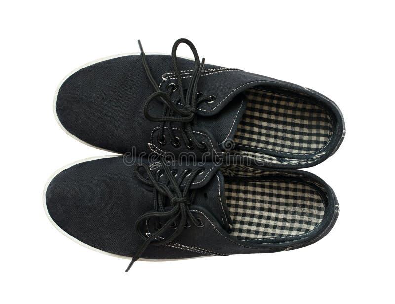 Chaussures noires d'été de textile photo libre de droits