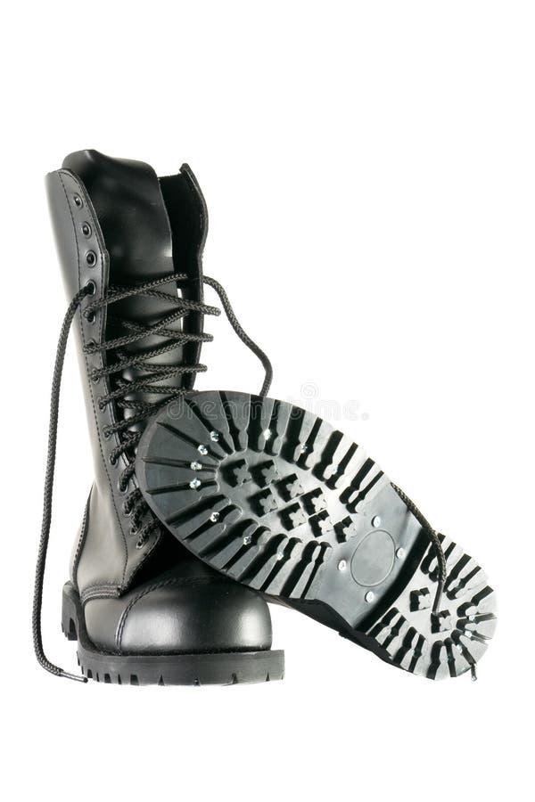Chaussures noires d'armée image stock