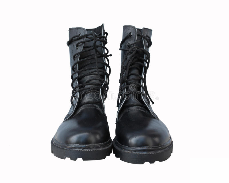 Chaussures noires d'armée d'isolement photo stock