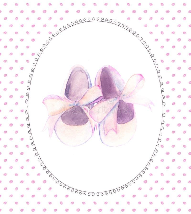 Chaussures roses d'aquarelle avec l'arc pour une petite fille Carte peinte à la main de fête de naissance illustration de vecteur