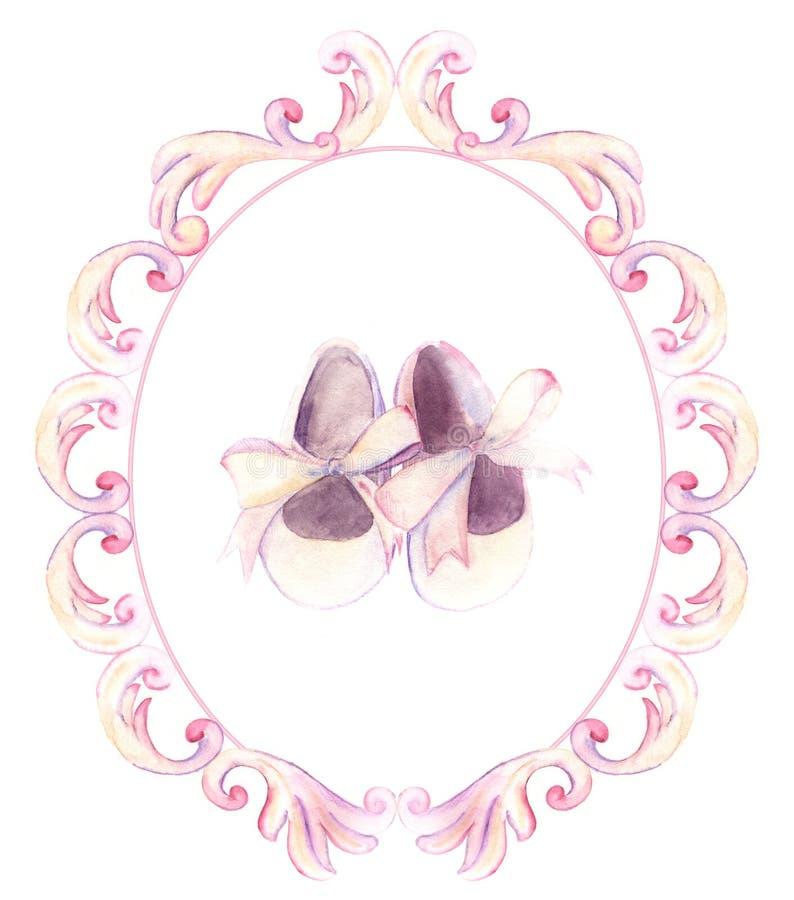 Chaussures roses d'aquarelle dans le cadre fleuri pour une petite fille Main-PA illustration libre de droits