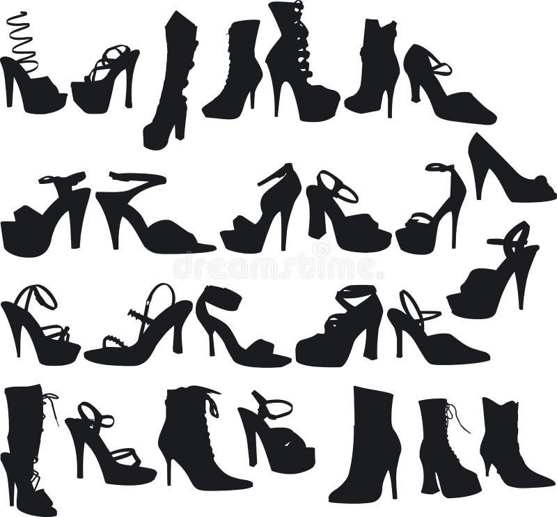 Chaussures sexy Silouettes illustration de vecteur