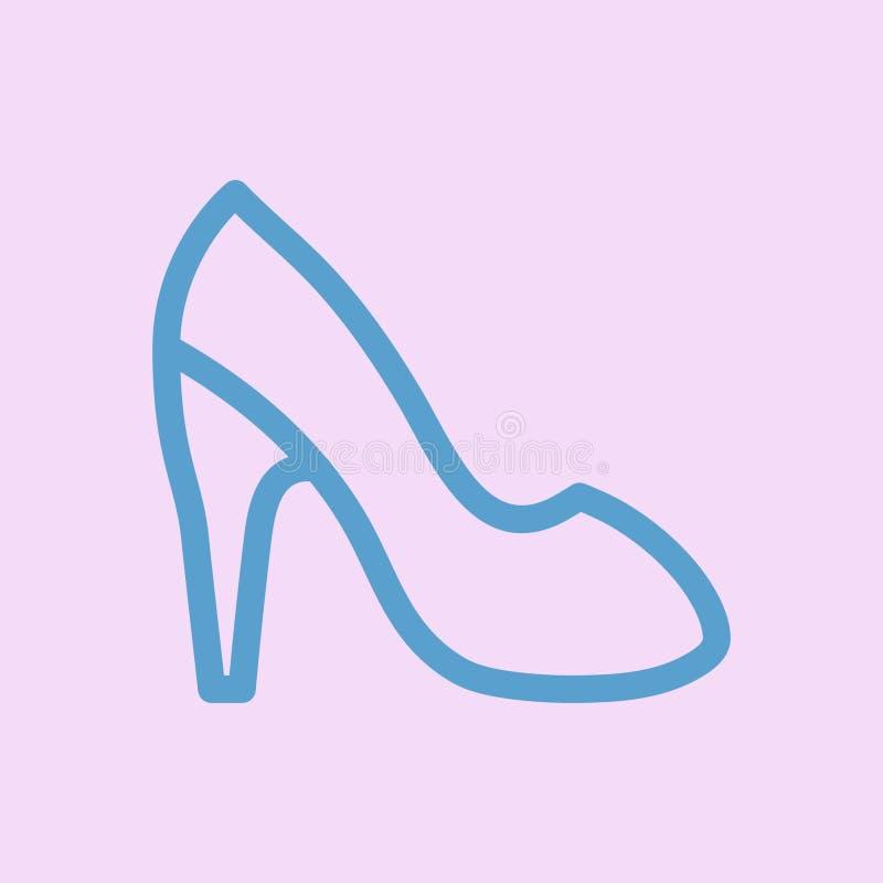 Chaussures ? talons hauts du ` s de femmes Ligne ic?ne de vecteur illustration de vecteur