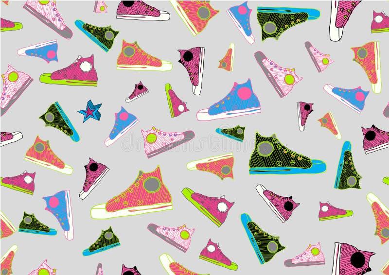 Chaussures tirées par la main fraîches de sport illustration libre de droits