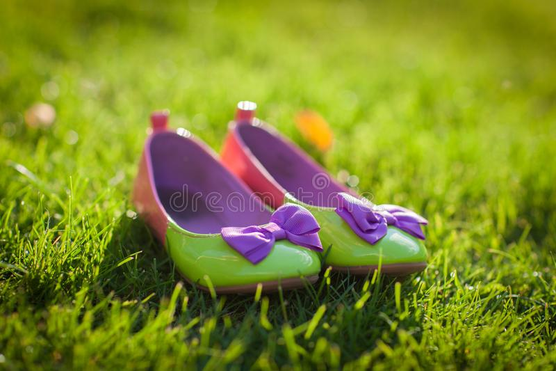 Chaussures vertes intéressantes avec les arcs violets image libre de droits
