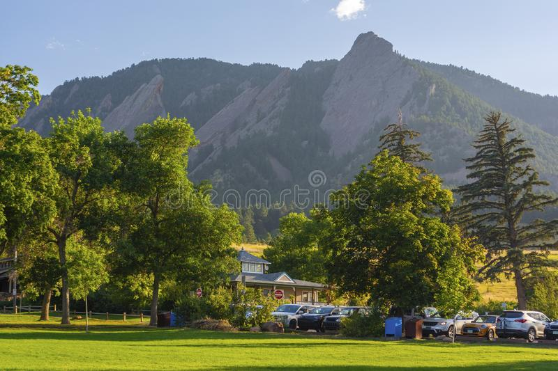 Chautauqua Park and the Flatirons Mountains in Boulder, Colorado During the Day.  royalty free stock photos