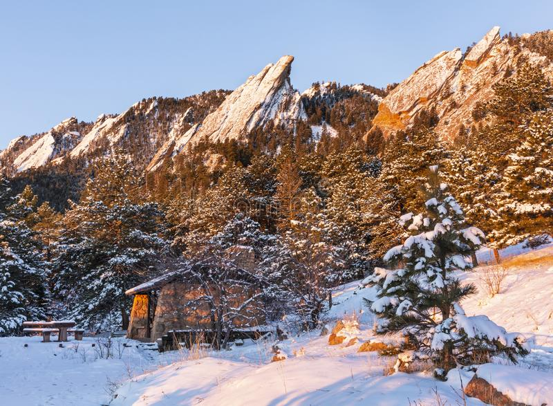 Chautauqua Picnic Shelter below Snow Covered Flatirons stock images