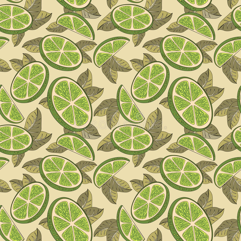 Chaux, citron Modèle sans couture avec des fruits de chaux illustration libre de droits