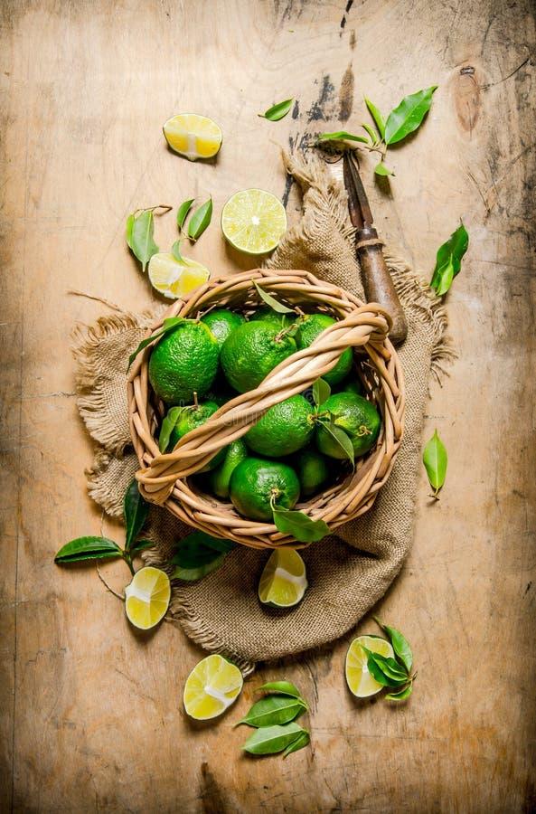Chaux fraîches avec des feuilles dans le vieux panier photographie stock