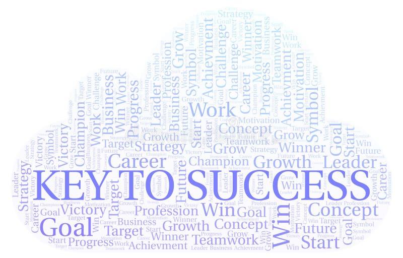 Chave à nuvem da palavra do sucesso ilustração royalty free